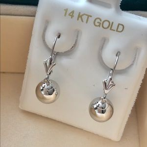 Jewelry - 14k Solid White/Yellow Gold 8mm Ball Earrings